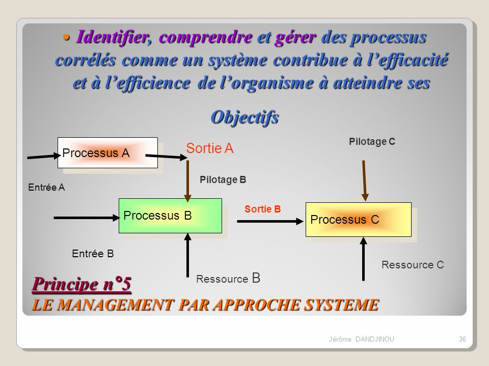 Principe n°5 LE MANAGEMENT PAR APPROCHE SYSTEME