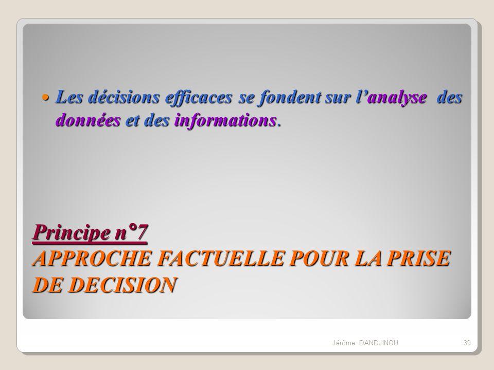 Principe n°7 APPROCHE FACTUELLE POUR LA PRISE DE DECISION