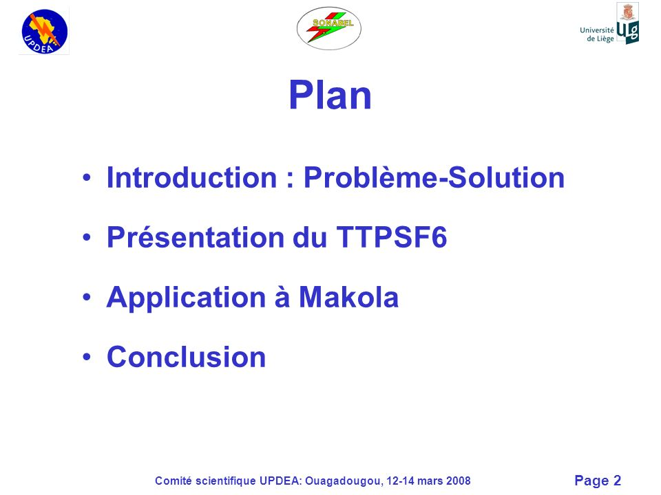 Plan Introduction : Problème-Solution Présentation du TTPSF6