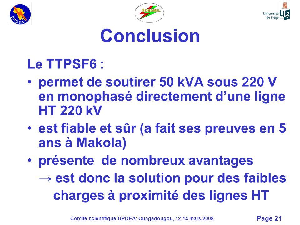 Conclusion Le TTPSF6 : permet de soutirer 50 kVA sous 220 V en monophasé directement d'une ligne HT 220 kV.