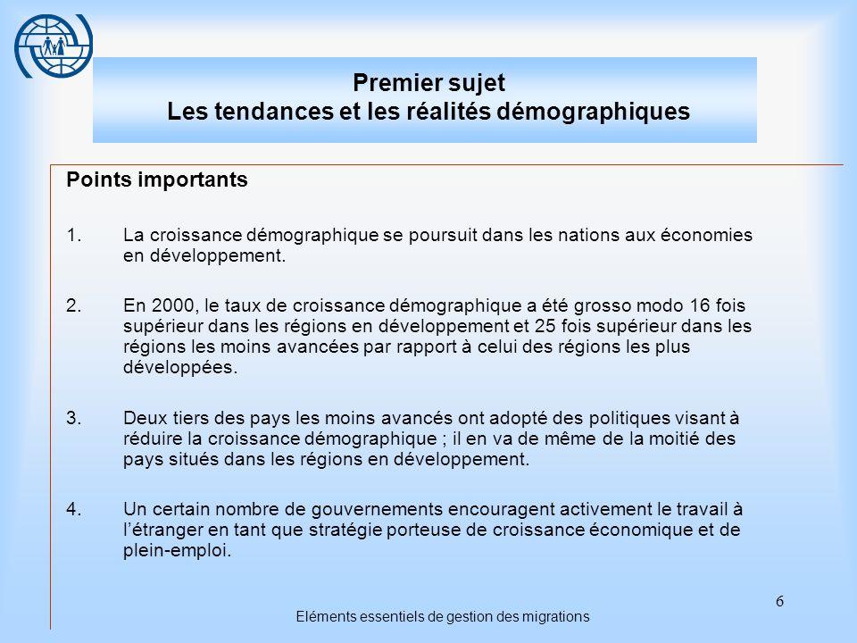 Premier sujet Les tendances et les réalités démographiques