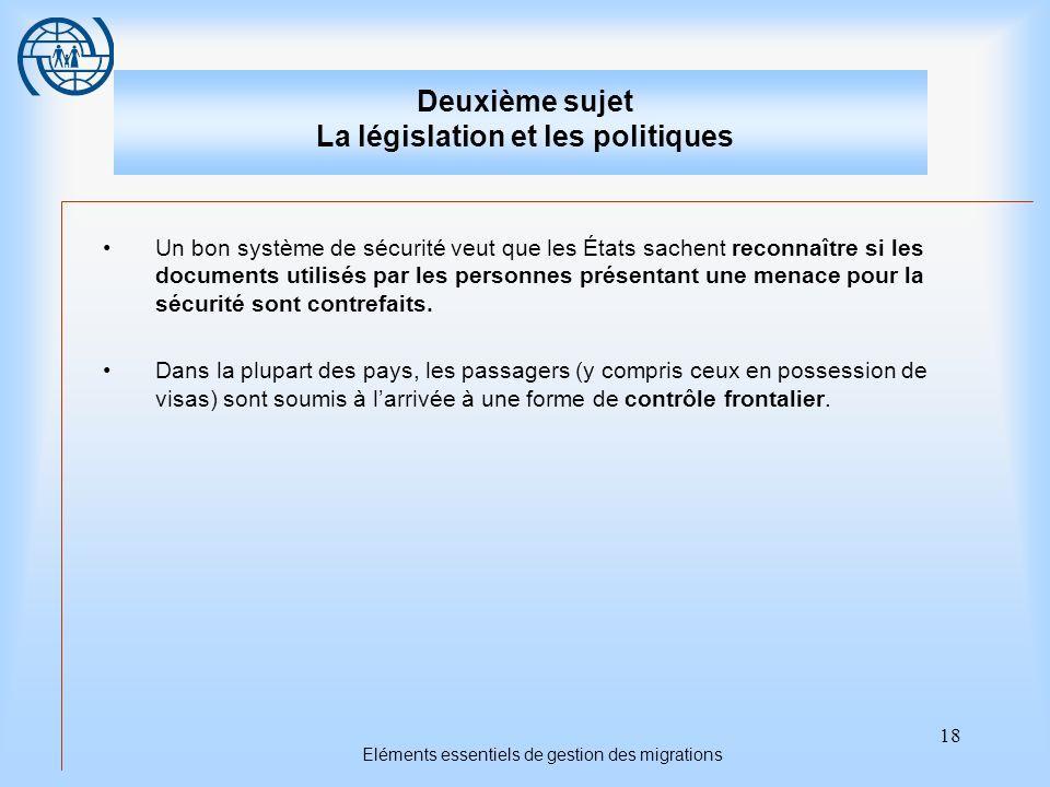 Deuxième sujet La législation et les politiques
