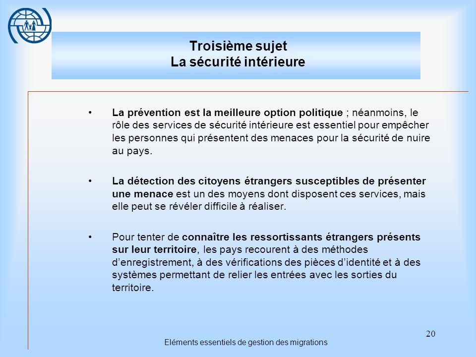 Troisième sujet La sécurité intérieure
