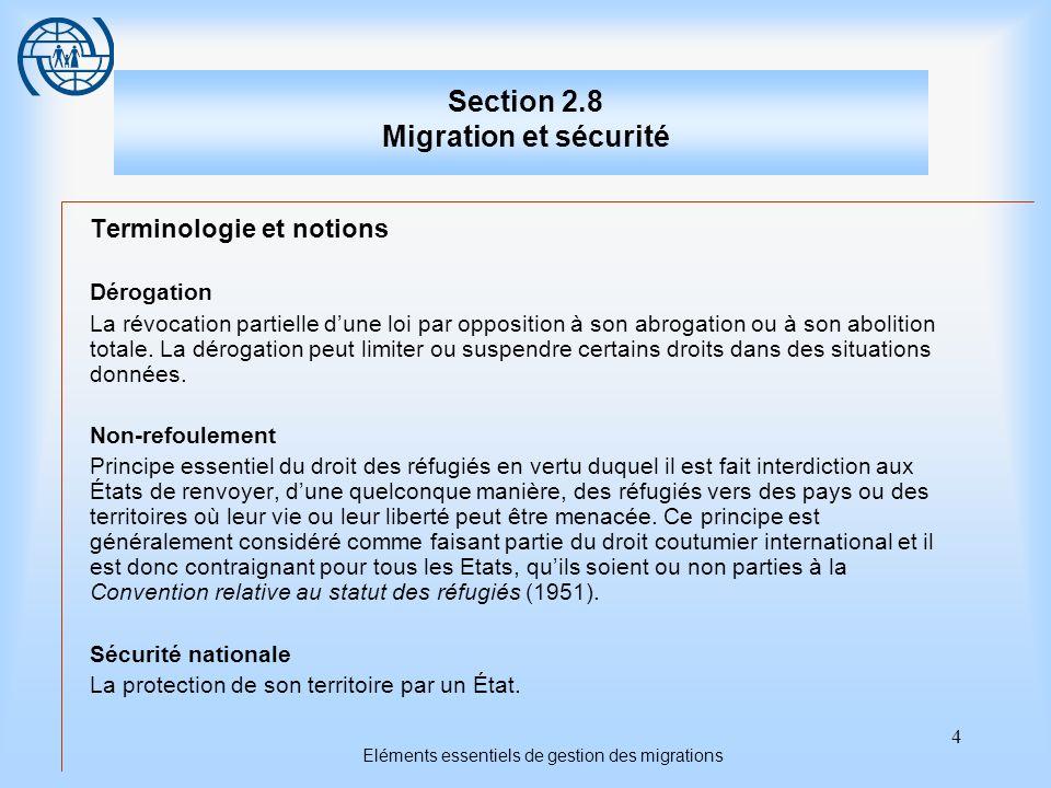 Section 2.8 Migration et sécurité