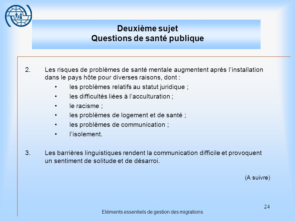 Deuxième sujet Questions de santé publique