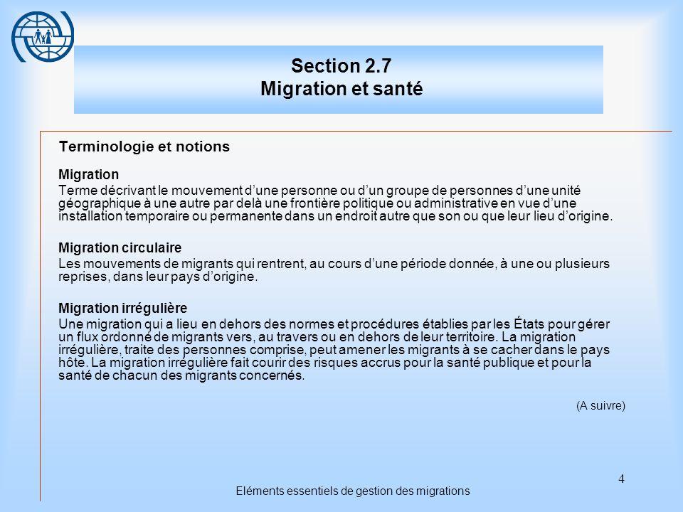 Section 2.7 Migration et santé