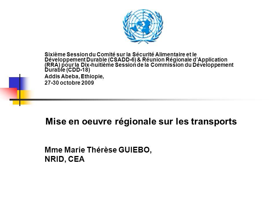 Mise en oeuvre régionale sur les transports