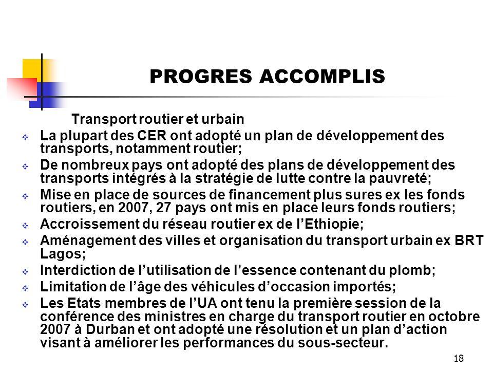 PROGRES ACCOMPLIS Transport routier et urbain. La plupart des CER ont adopté un plan de développement des transports, notamment routier;