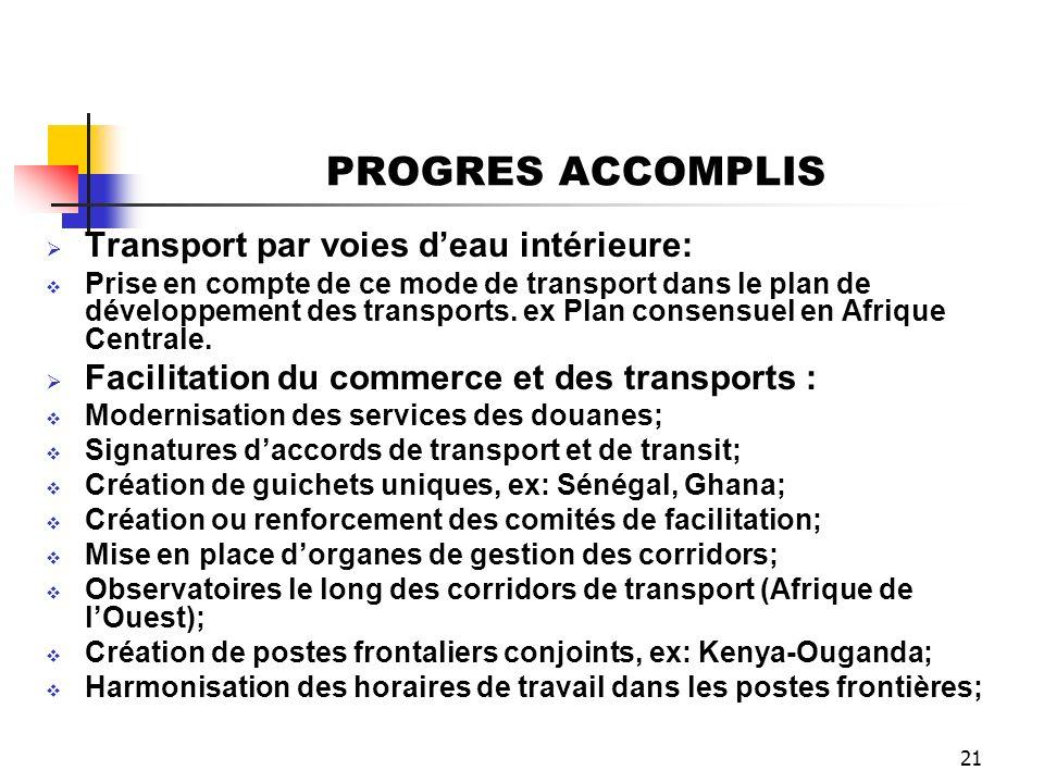 PROGRES ACCOMPLIS Transport par voies d'eau intérieure: