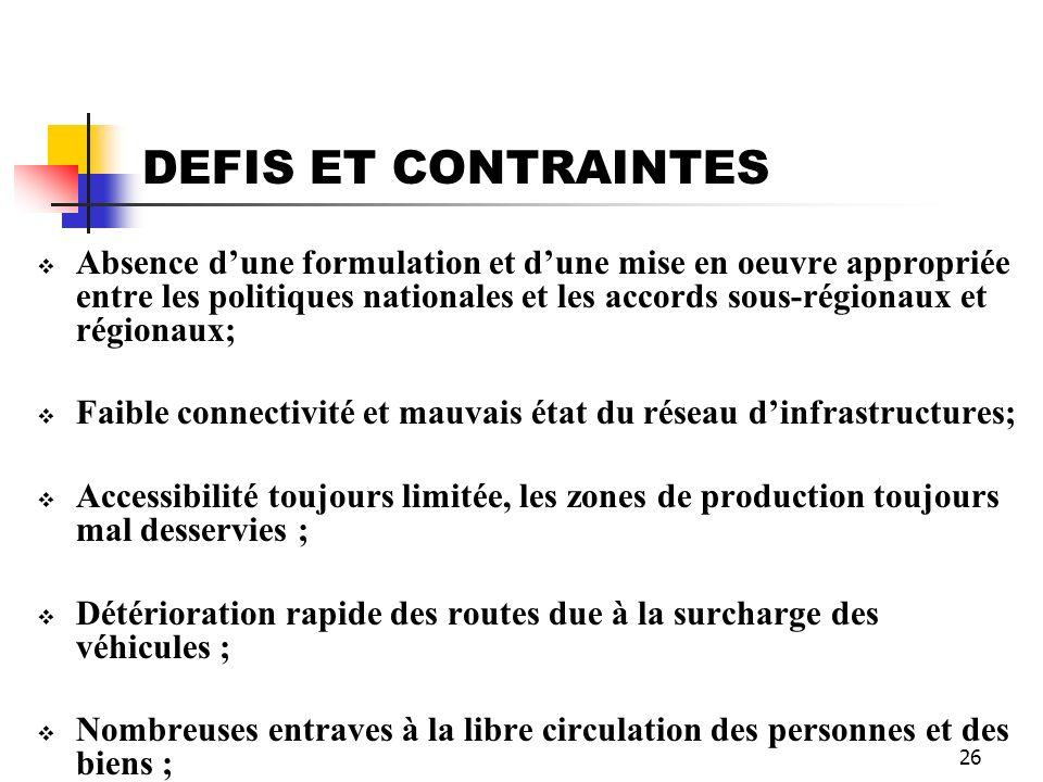 DEFIS ET CONTRAINTES