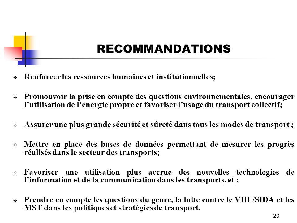 RECOMMANDATIONS Renforcer les ressources humaines et institutionnelles;