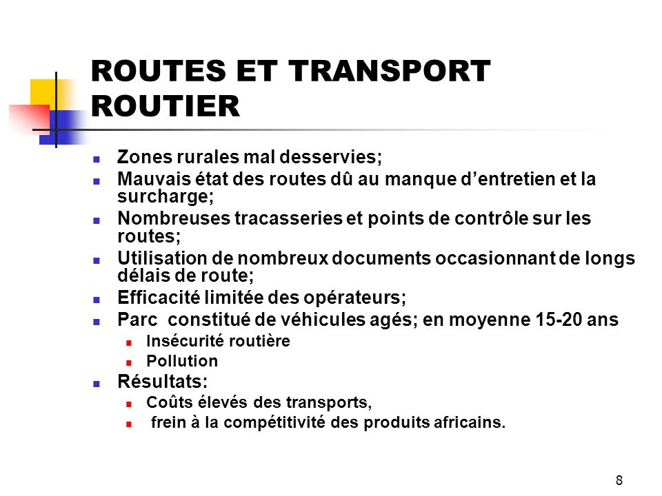 ROUTES ET TRANSPORT ROUTIER