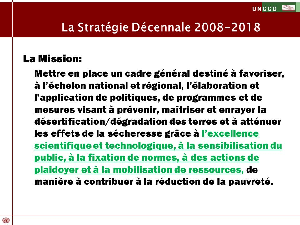 La Stratégie Décennale 2008-2018