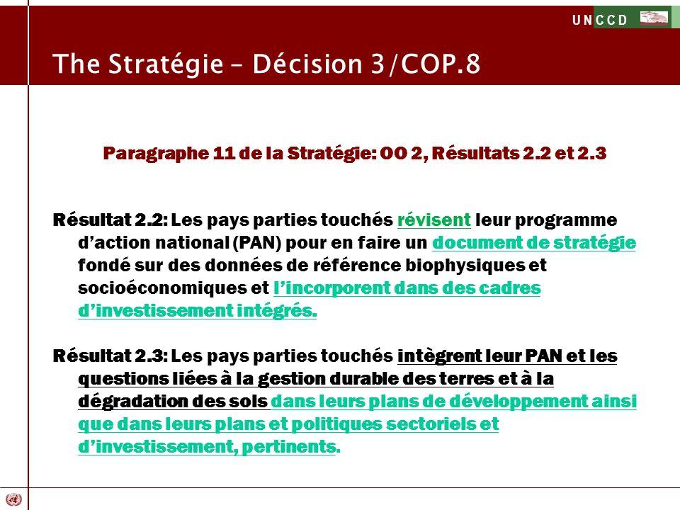 Paragraphe 11 de la Stratégie: OO 2, Résultats 2.2 et 2.3