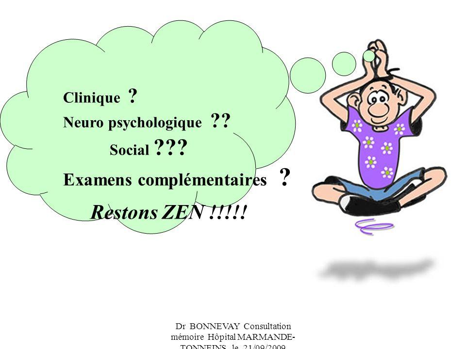 Restons ZEN !!!!! Examens complémentaires Clinique