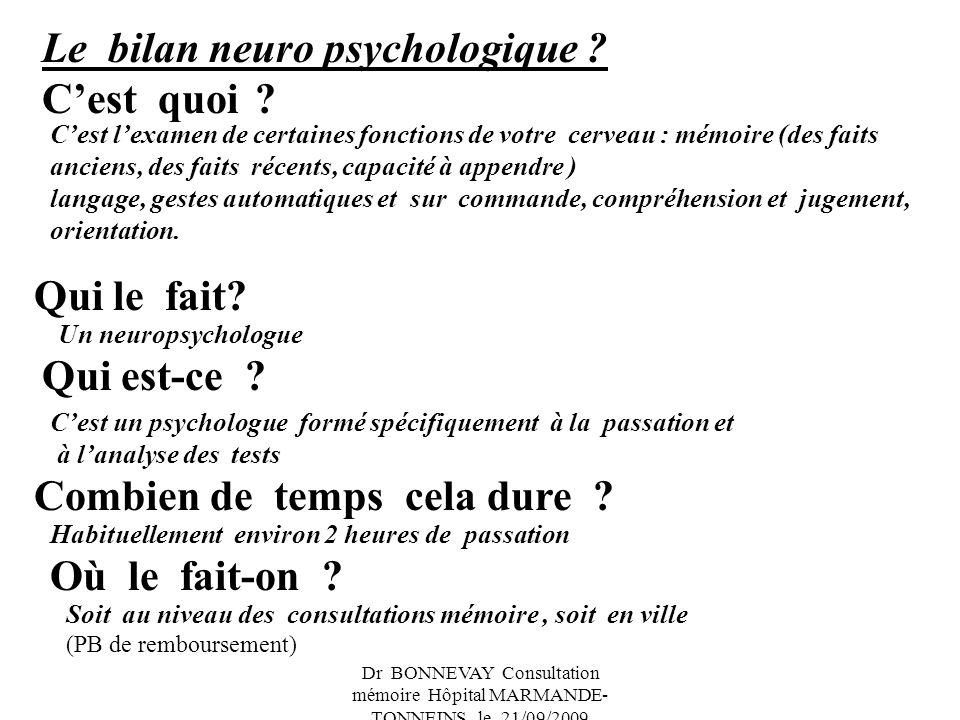 Le bilan neuro psychologique C'est quoi