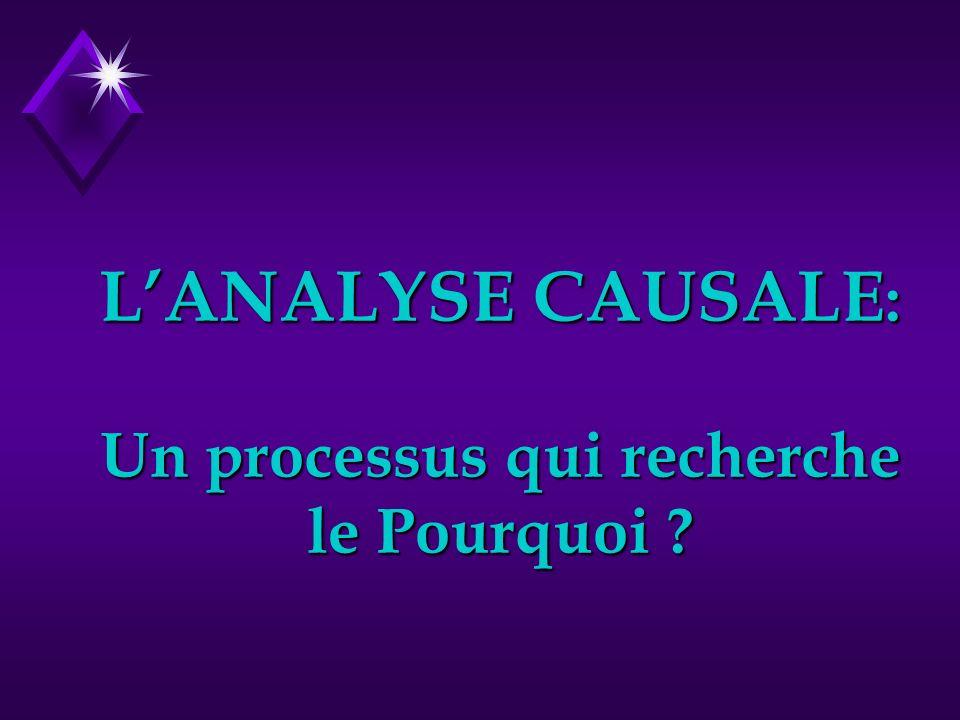 L'ANALYSE CAUSALE: Un processus qui recherche le Pourquoi