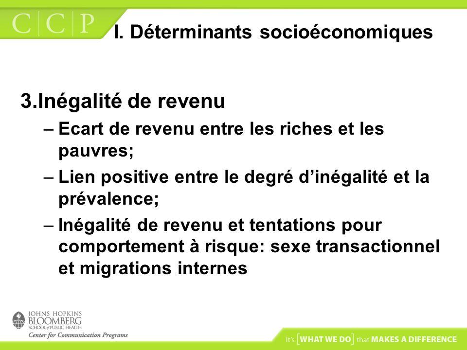 I. Déterminants socioéconomiques