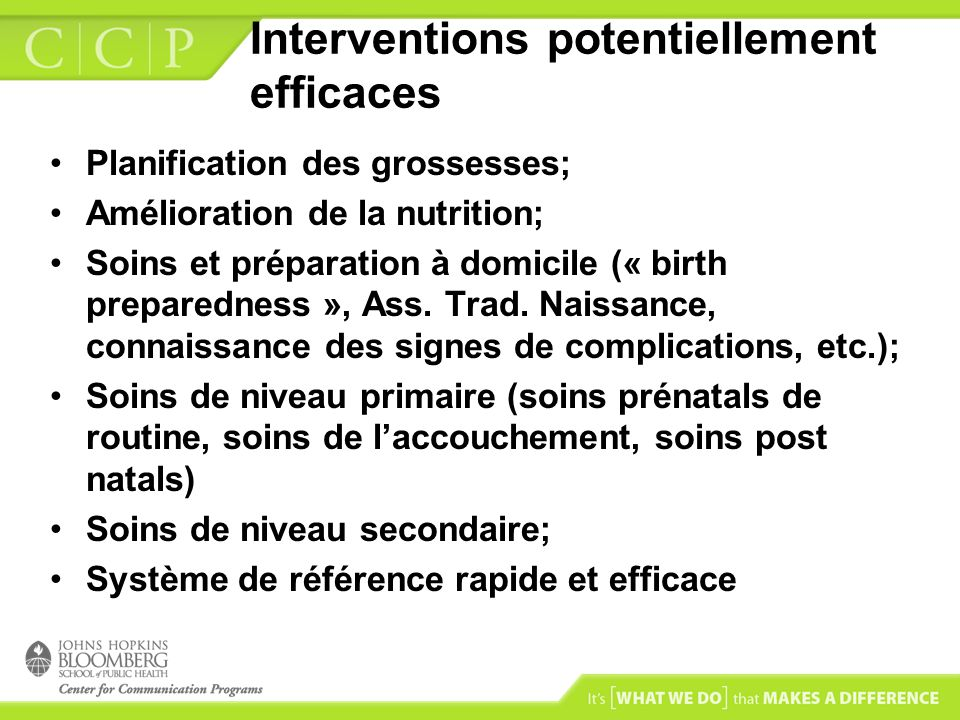 Interventions potentiellement efficaces