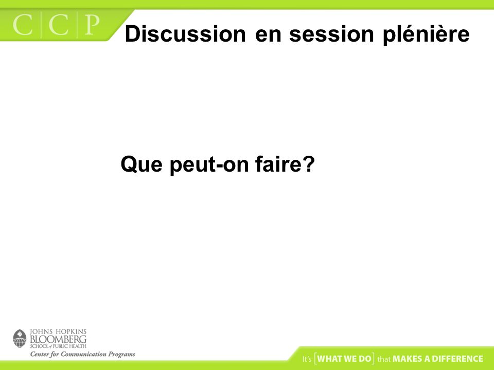 Discussion en session plénière