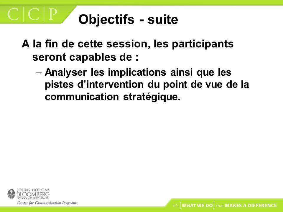 Objectifs - suite A la fin de cette session, les participants seront capables de :