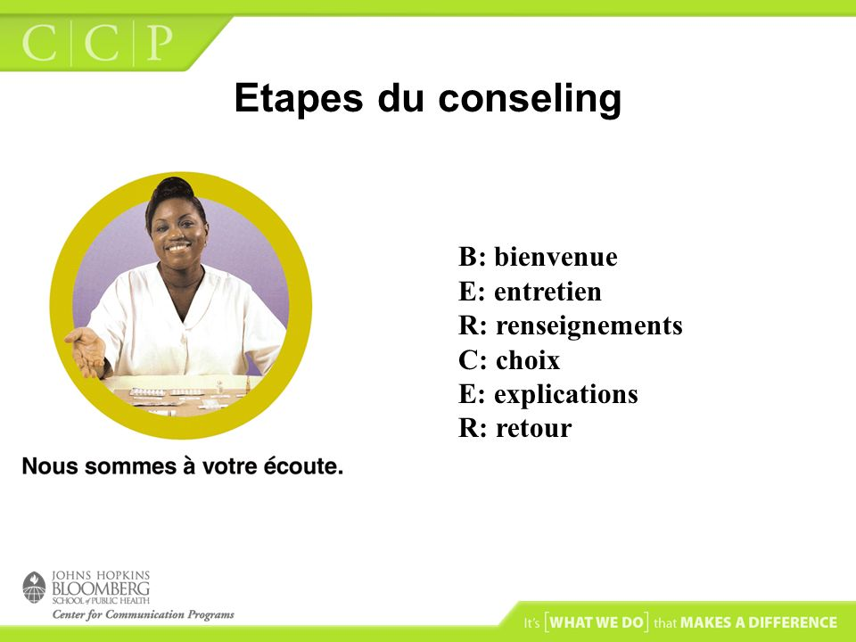 Etapes du conseling B: bienvenue E: entretien R: renseignements