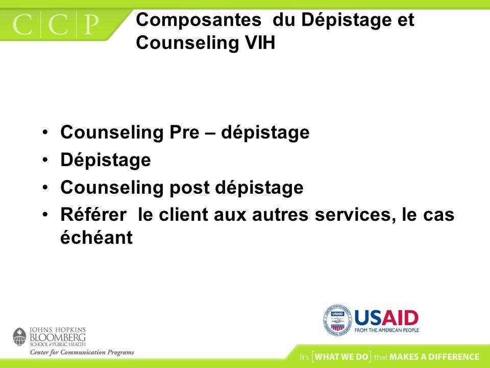 Composantes du Dépistage et Counseling VIH