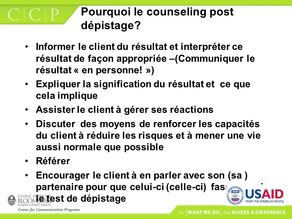 Pourquoi le counseling post dépistage