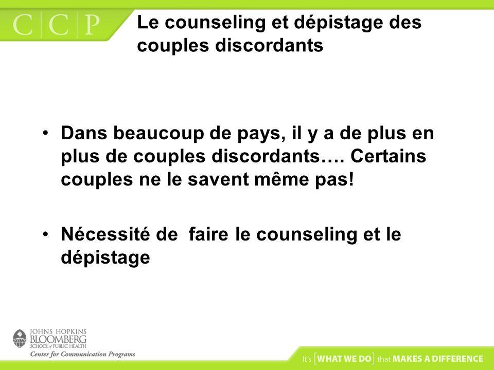 Le counseling et dépistage des couples discordants
