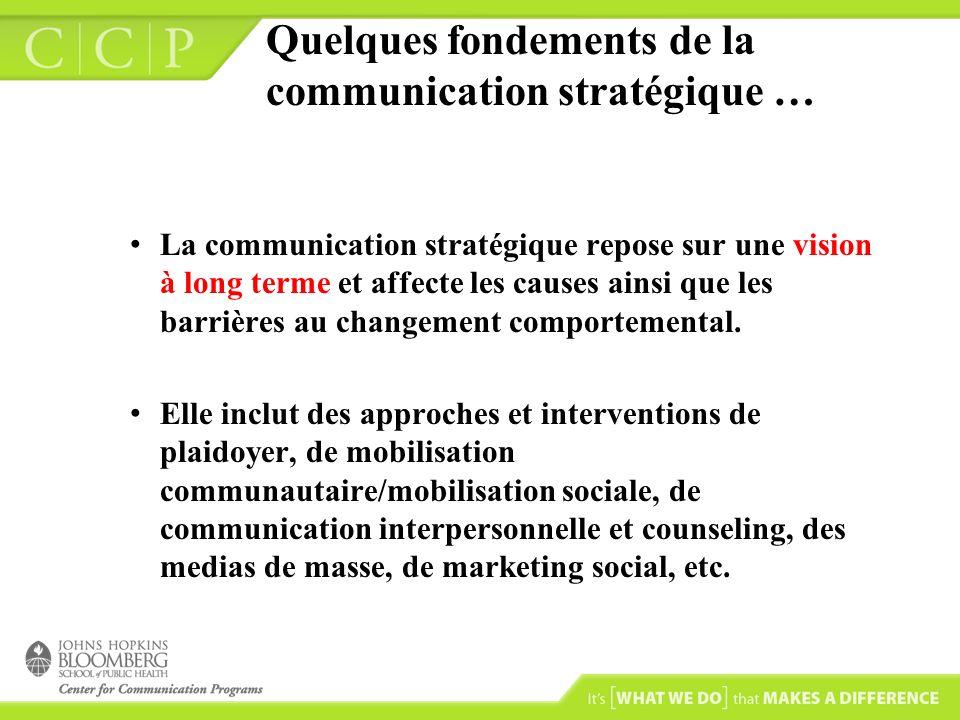 Quelques fondements de la communication stratégique …