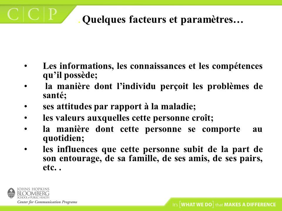 . Quelques facteurs et paramètres…
