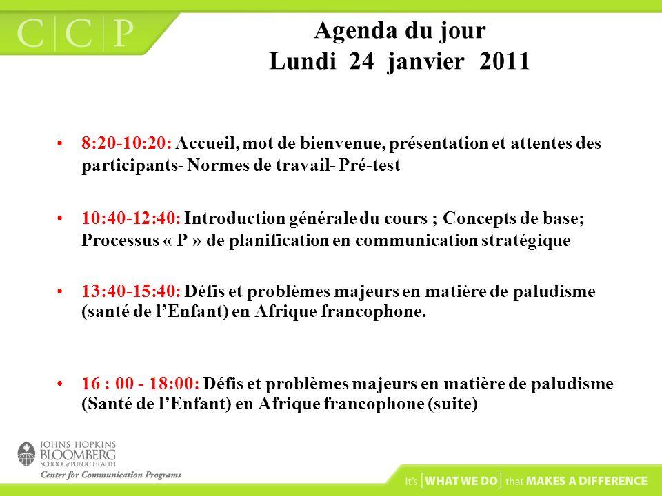 Agenda du jour Lundi 24 janvier 2011