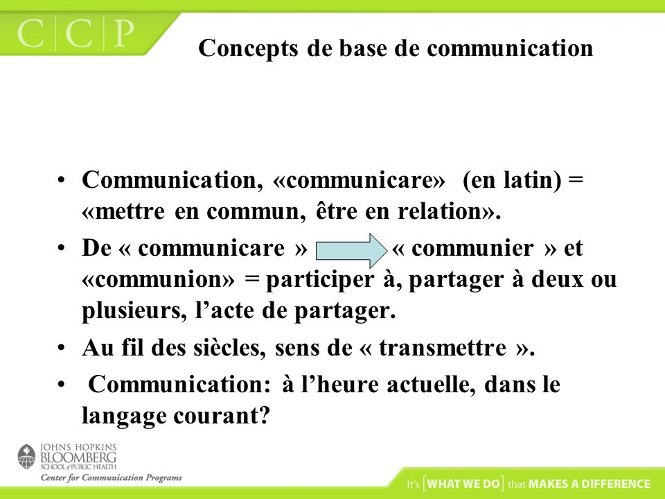 Concepts de base de communication