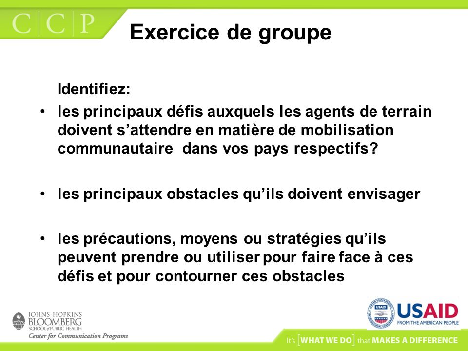Exercice de groupe Identifiez: