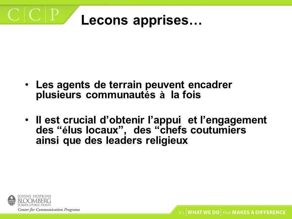 Lecons apprises… Les agents de terrain peuvent encadrer plusieurs communautés à la fois.