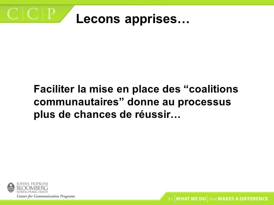 Lecons apprises… Faciliter la mise en place des coalitions communautaires donne au processus plus de chances de réussir…