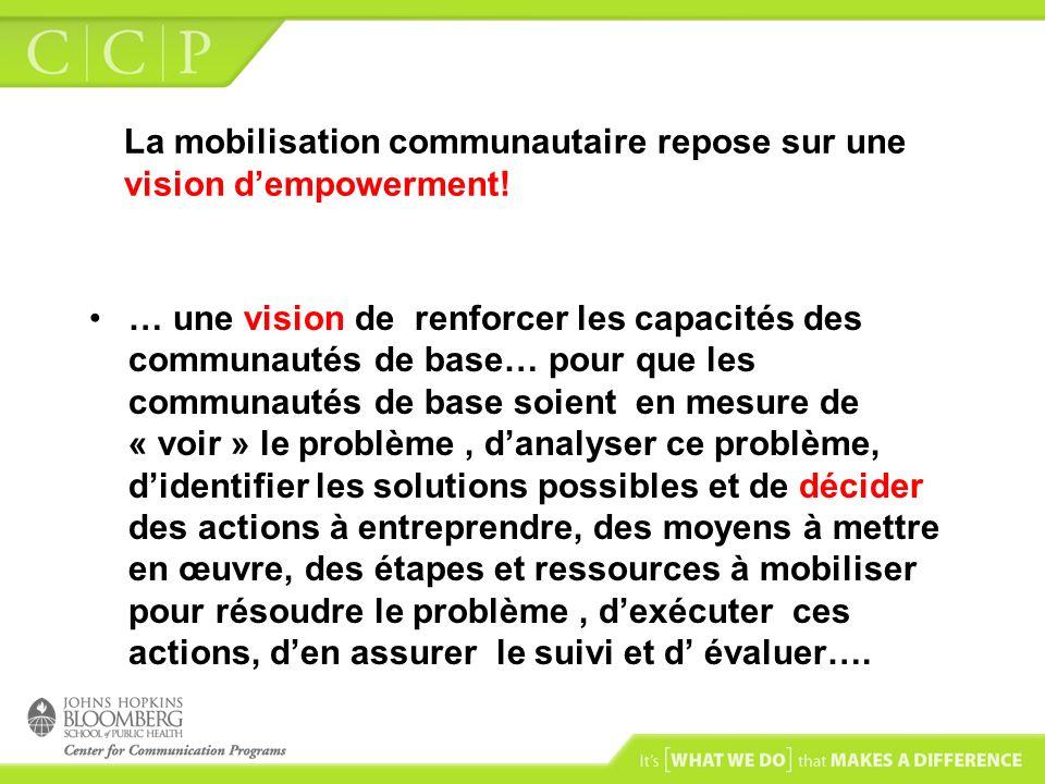 La mobilisation communautaire repose sur une vision d'empowerment!