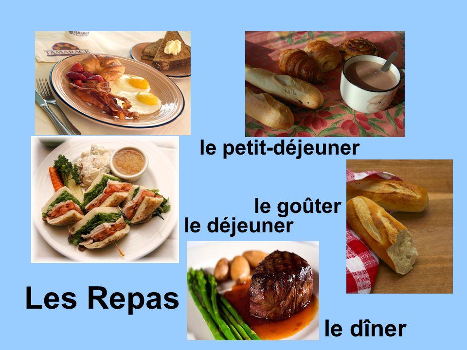 le petit-déjeuner le goûter le déjeuner Les Repas le dîner