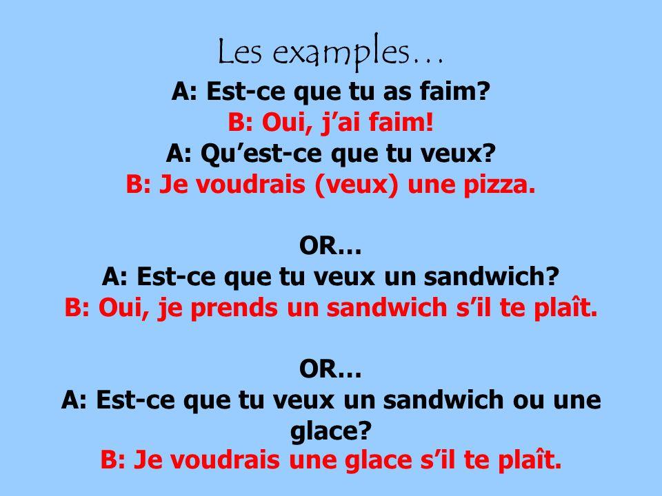 Les examples… A: Est-ce que tu as faim. B: Oui, j'ai faim