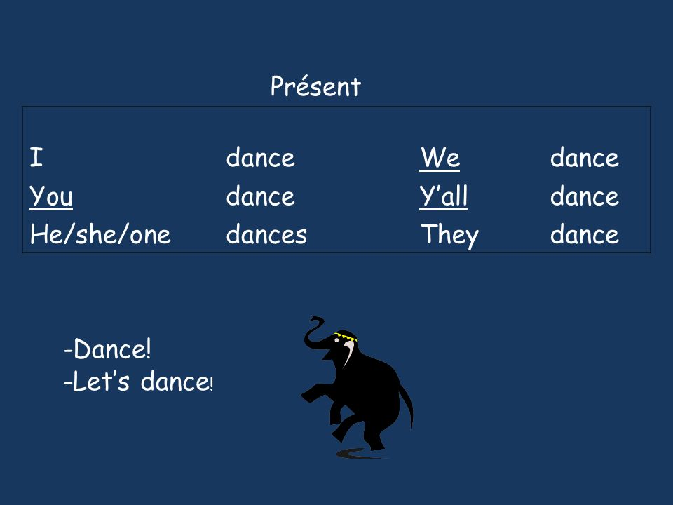 Présent I dance We You Y'all He/she/one dances They -Dance! -Let's dance!