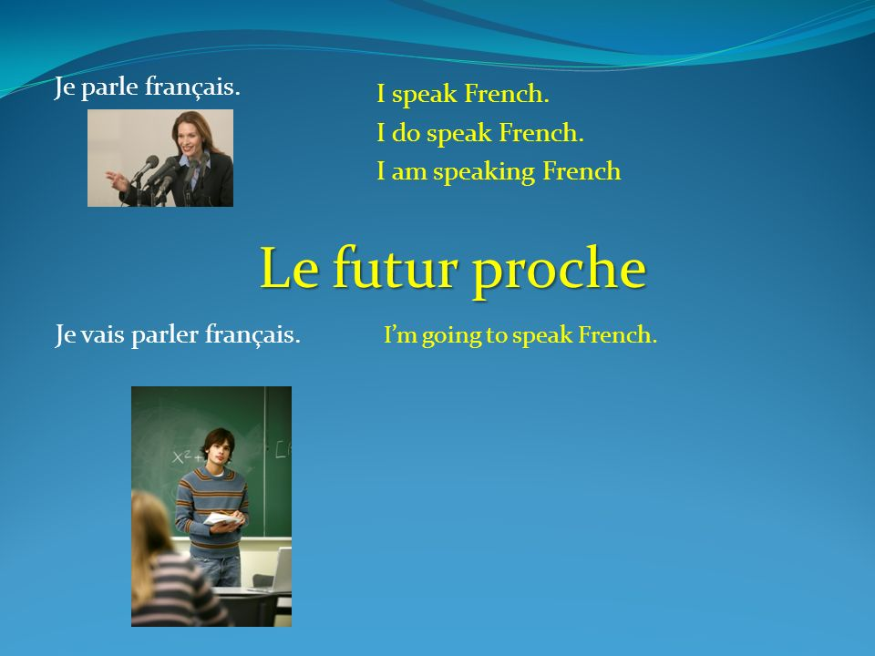 Le futur proche Je parle français. I speak French. I do speak French.