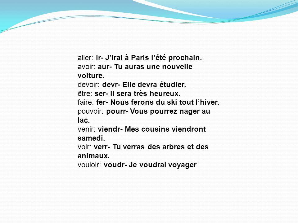 aller: ir- J'irai à Paris l'été prochain.