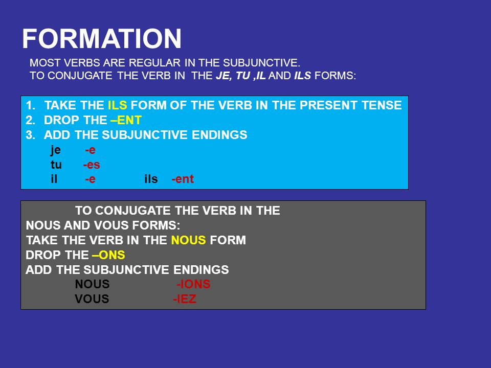 FORMATION TAKE THE ILS FORM OF THE VERB IN THE PRESENT TENSE