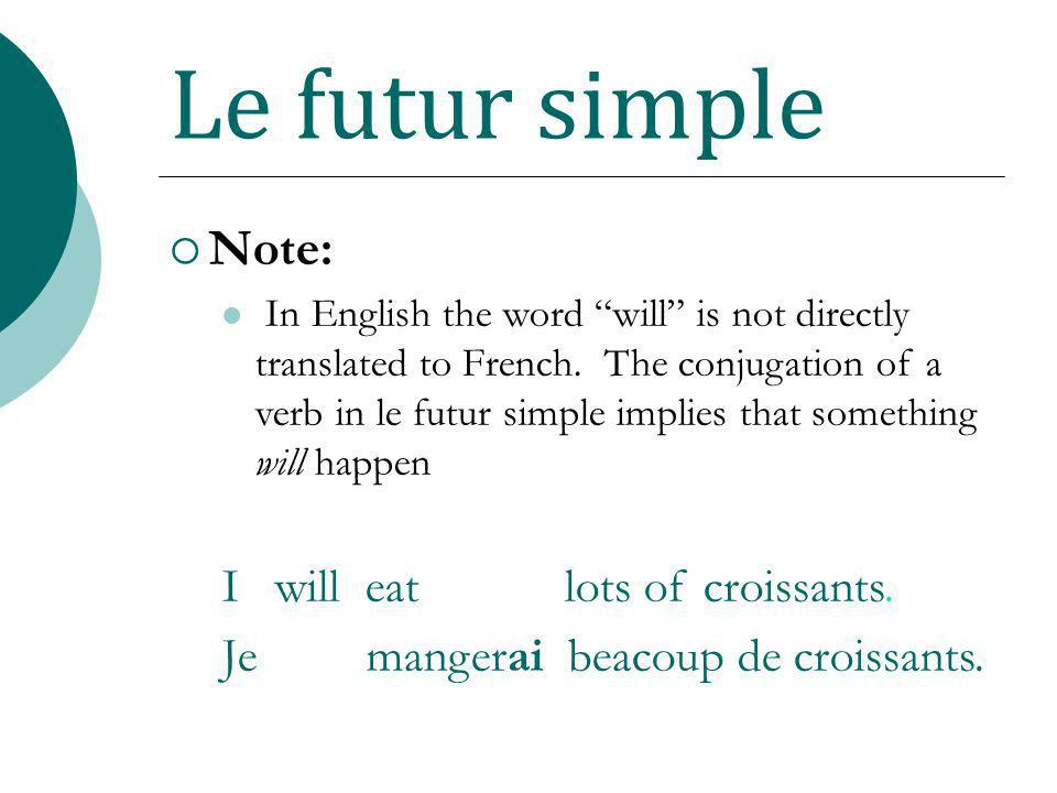 Le futur simple Note: I will eat lots of croissants.