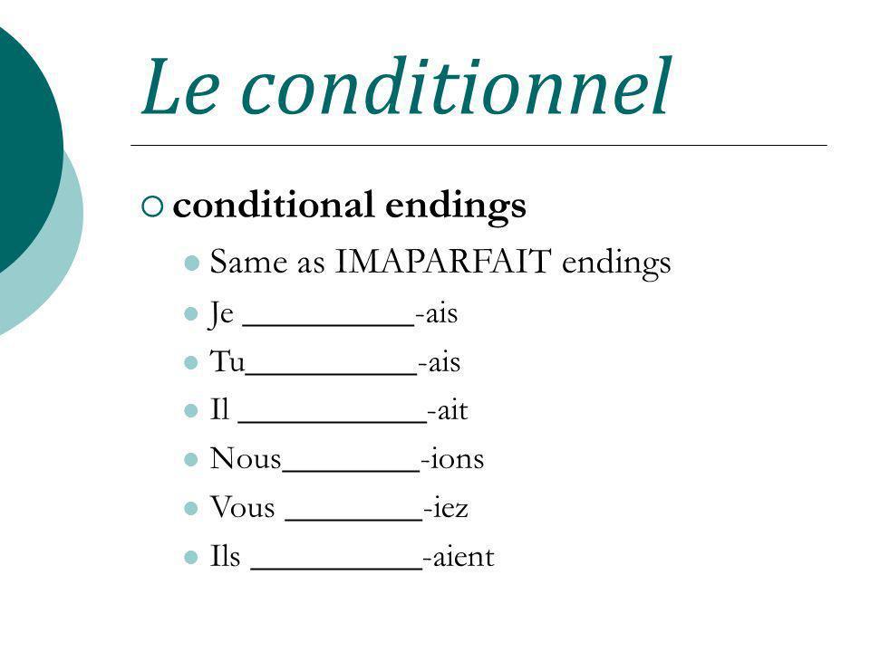 Le conditionnel conditional endings Same as IMAPARFAIT endings