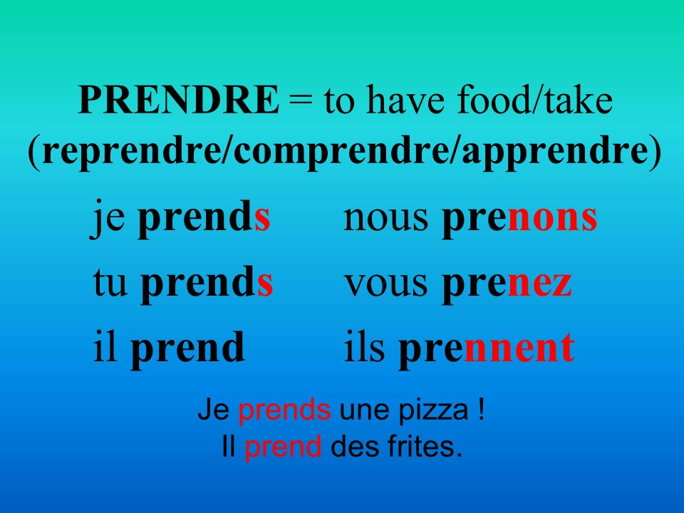 PRENDRE = to have food/take (reprendre/comprendre/apprendre)