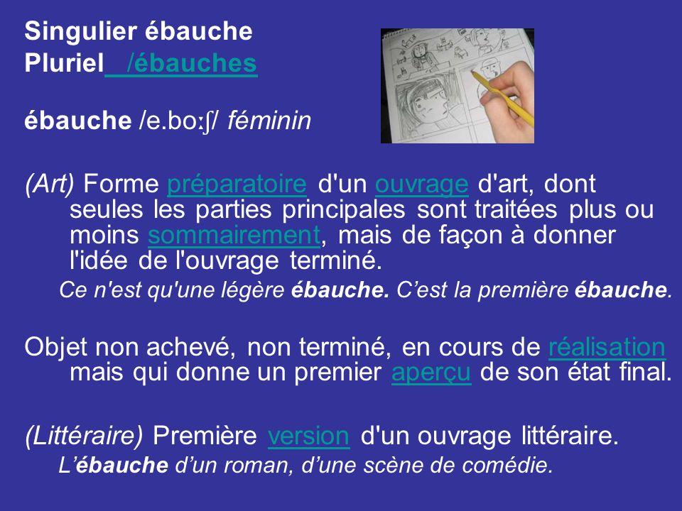 ébauche /e.boːʃ/ féminin