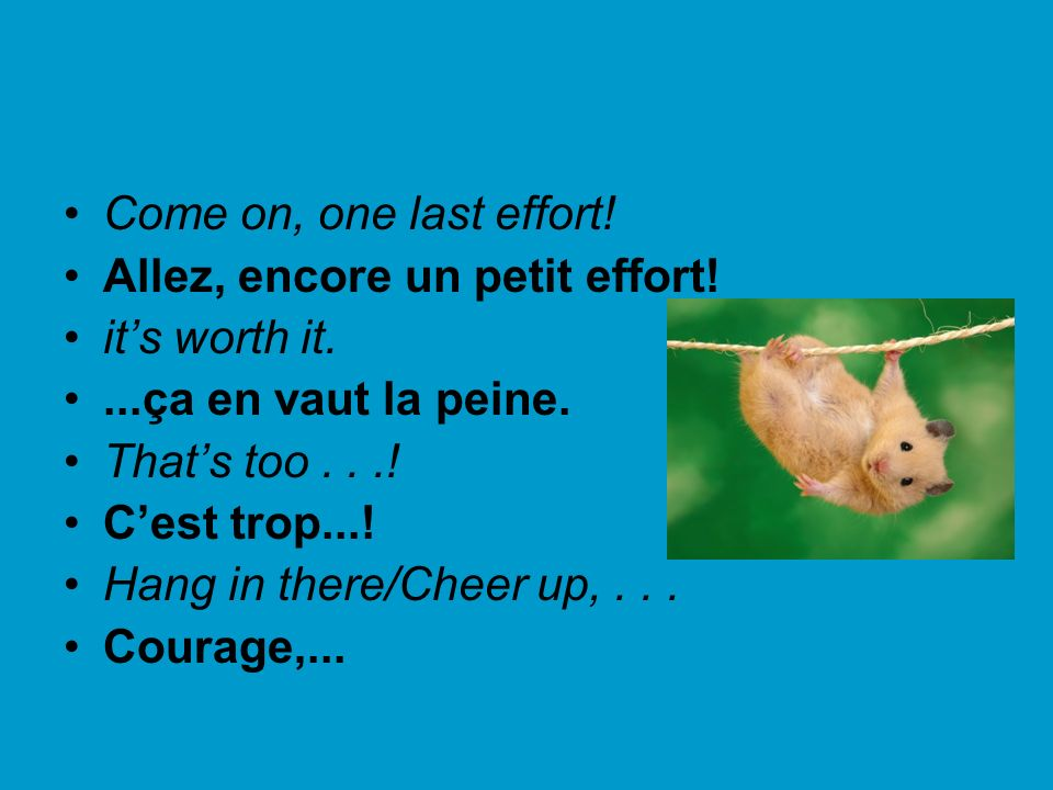 Come on, one last effort!Allez, encore un petit effort! it's worth it. ...ça en vaut la peine. That's too . . .!