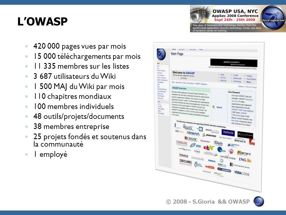 L'OWASP 420 000 pages vues par mois 15 000 téléchargements par mois