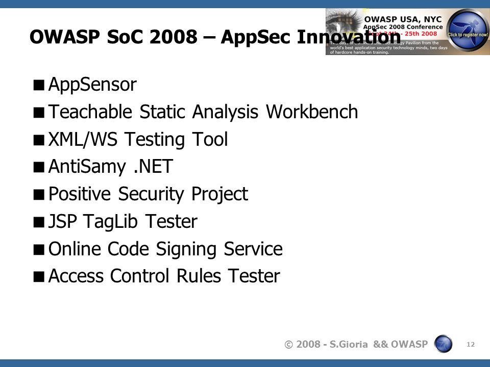 OWASP SoC 2008 – AppSec Innovation